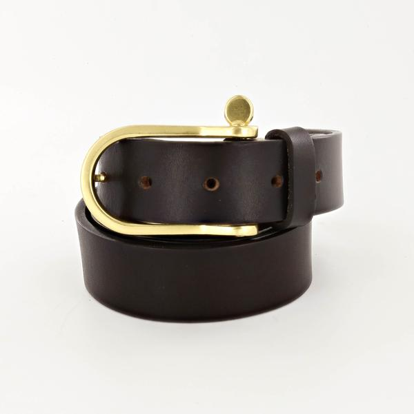Standard Leather Belt with Shackle Buckle in Brass and Deep Dark Brown