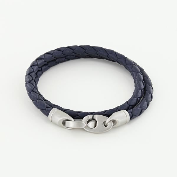 Catch Double Wrap Leather Bracelet with Matte Stainless Steel Brummels in Midnight