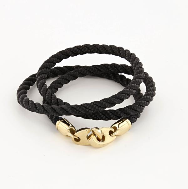 Endeavour Triple Wrap Rope Bracelet with Polished Brass Brummels in black