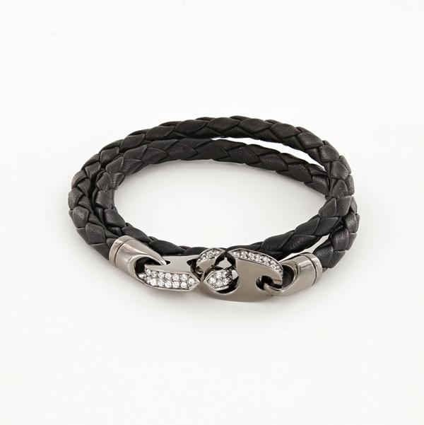 Luster Double Wrap Leather Brummel Bracelet Nickel Antique and Black
