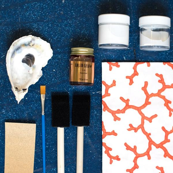 DIY Oyster shell decoupage kit in coral