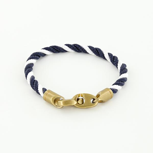 Journey Single Wrap Rope Bracelet with Matte Brass Brummels in Navy White