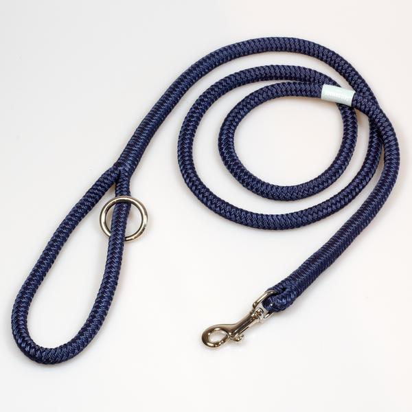 Riptide Reggie Rope Dog Leash in Navy with Polished Nickel Hardware