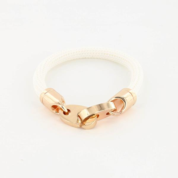 Charter Big Brummel Bracelet with Braided Rubber Wrap in Rosegold and White