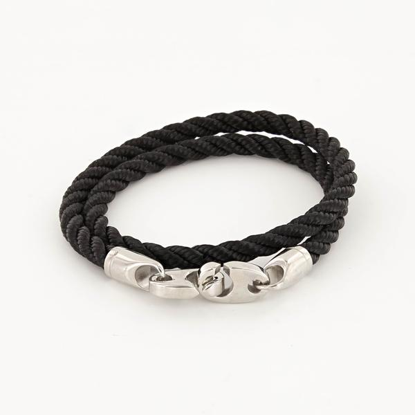 Elsewhere Double Wrap Rope Bracelet with Stainless Steel Brummels in black