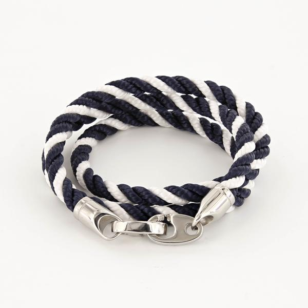 Elsewhere Triple Wrap Rope Bracelet with Stainless Steel Brummels in navy and white twisted rope