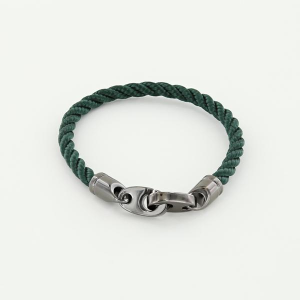 Player Single Wrap Rope Bracelet with Nickel Antique Brummels in Evergreen