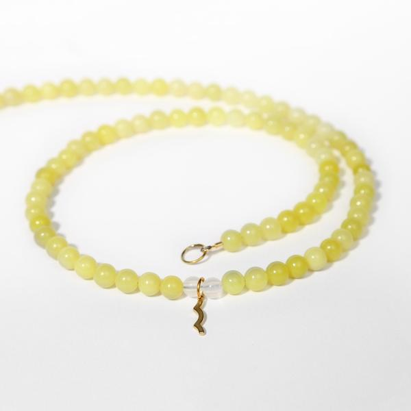 UV Awareness beaded Necklace for sun safety in lemon jade