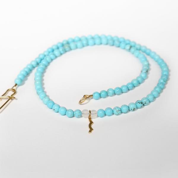 UV Awareness beaded Necklace for sun safety in Cyan Turquoise