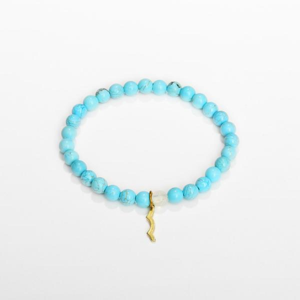 UV awareness beaded beach bracelet for sun safety in cyan turquoise