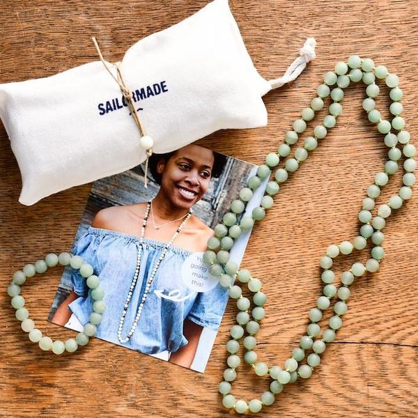 diy beading kit necklace and bracelet in green aventurine
