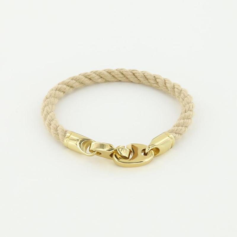 Endeavour Single Wrap Rope Bracelet with Polished Brass Brummels in wheat