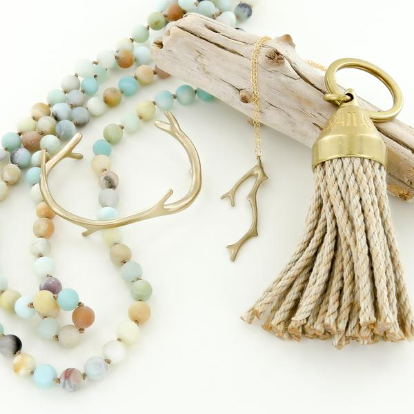 Beach House gift set for women with tassel keychain, coral reef jewelry, and sea glass frosted amazonite necklace