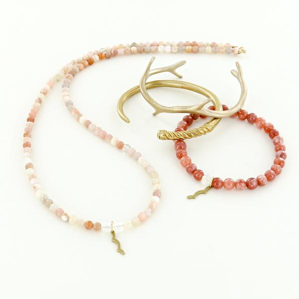 Uv awareness necklace and bracelet with coral reef cuff and slim fid cuff in brass