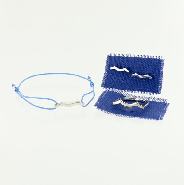 sterling silver wave bracelet earrings and ring
