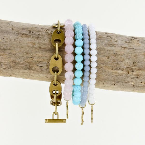 uv awareness Rayminder bracelets for sun safety in rose quartz, turquoise, angelite, moonstone and brummel link bracelet in matte brass