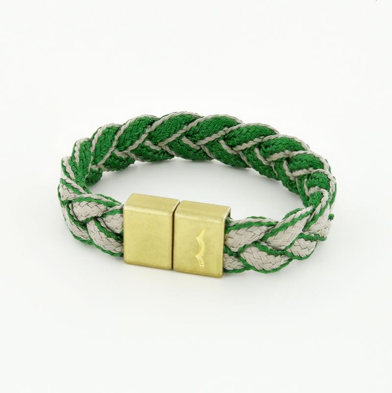 League Bracelet with Green Beige Braid and Magnetic Clasp in Brass