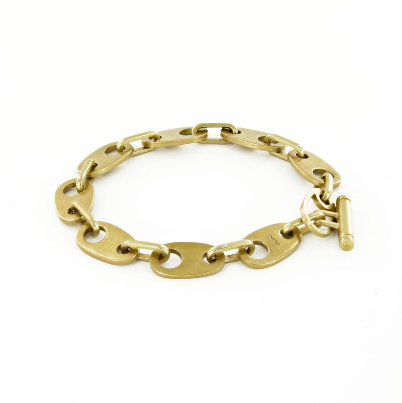 Brummel Links Chain Bracelet in Matte Brass