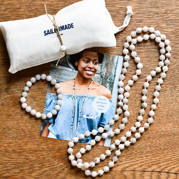 diy beading kit necklace and bracelet in agate