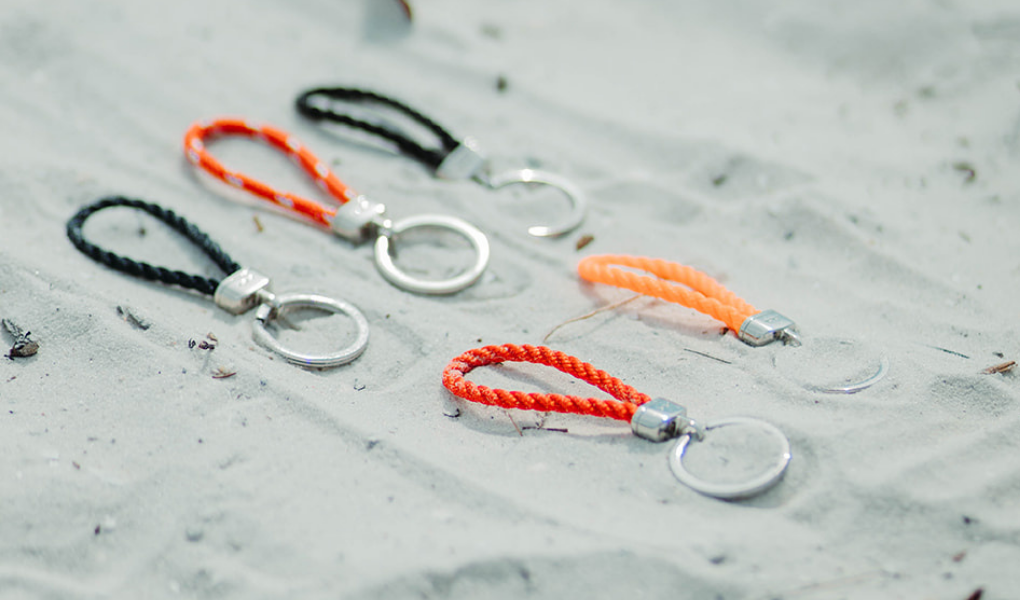 pete's point rope keychain in navy, black, red, orange, black and stainless steel
