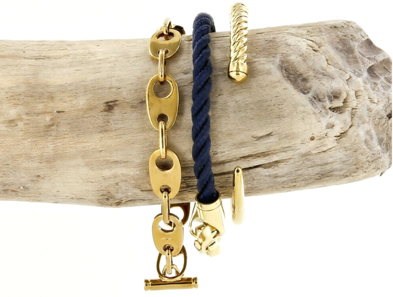 sailormade classic sailor stack with single rope brummel bracelet, slim fid cuff, nautical link bracelet in brass