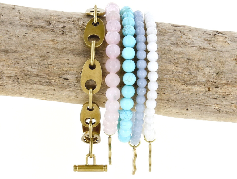 rayminder uv awareness bracelets for sun safety in rose quartz, turquoise, angelite, moonstone