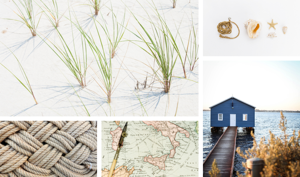 beachy mood board for gift wrap materials