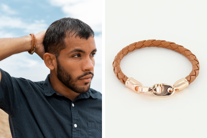 his and hers bracelet sets, men's journey leather wrap bracelet and women's rose gold lure brummel bracelet in baked brown