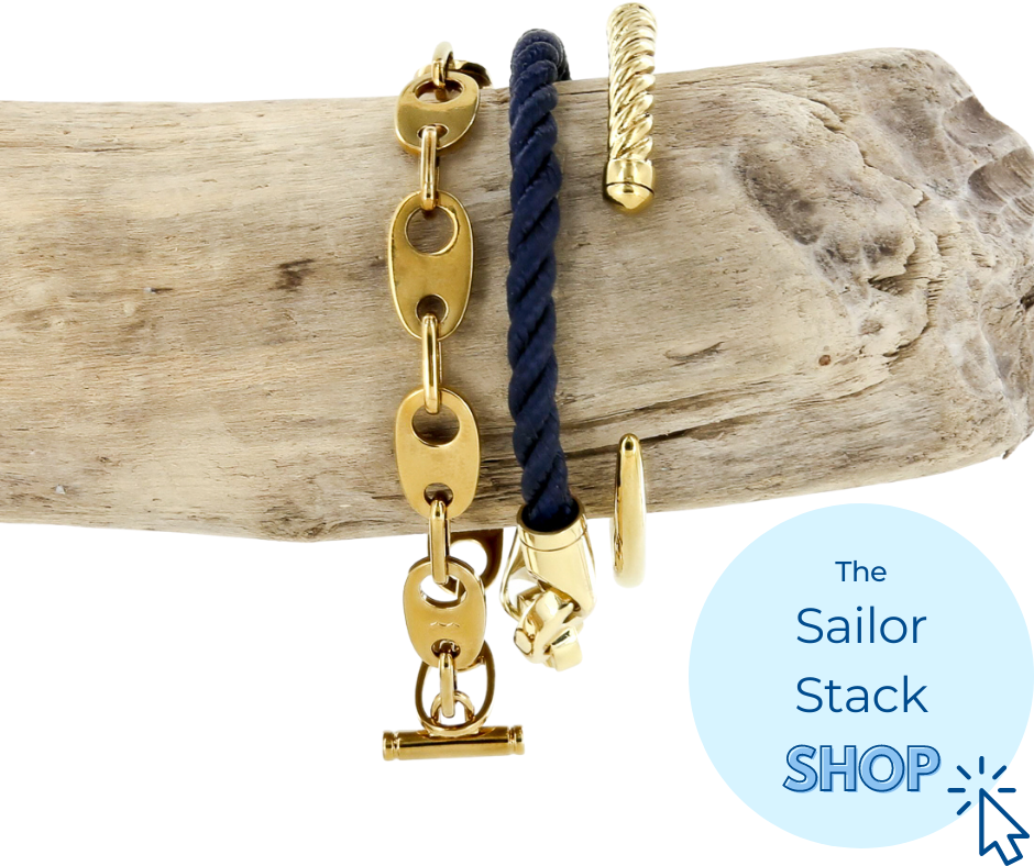 nautical sailor stack of bracelets for women