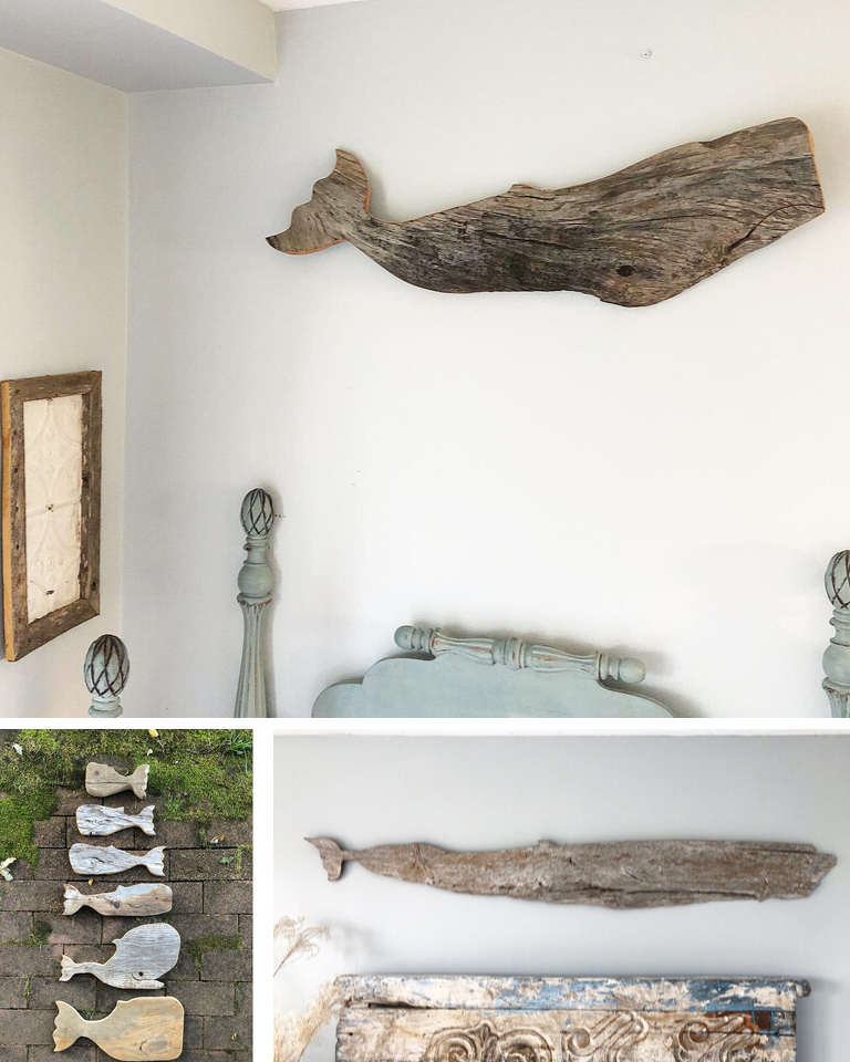 Plum Island Drift Whale Sculptures out of drifwood
