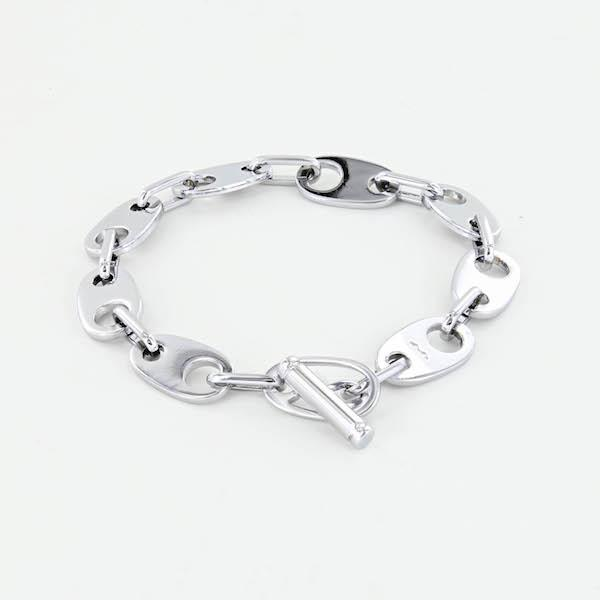 nautical link bracelet for women in polished silver