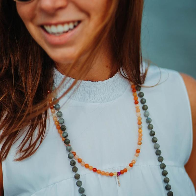 UV Awareness beaded Necklace for sun safety in topaz jade and beaded necklace in labradorite