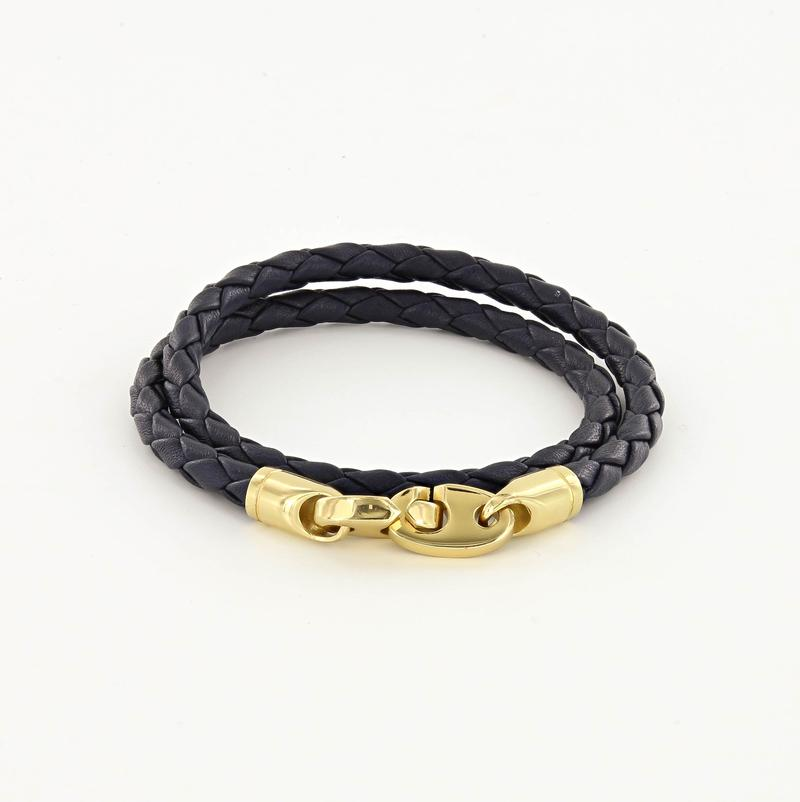 Endeavour Leather Double Wrap Bracelet with Polished Brass Brummels in midnight navy