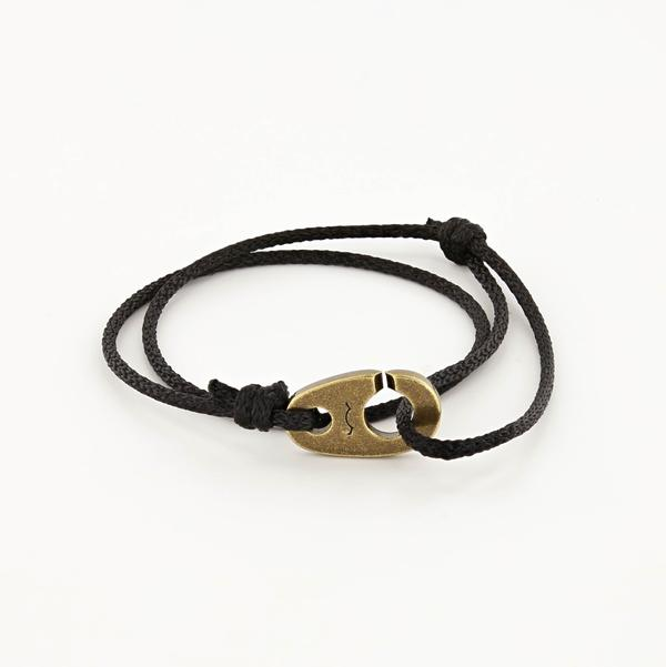 Charger Marine Cord Bracelet in Weathered Brass Faded Black