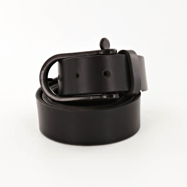 nautical shackle leather belt for men in black