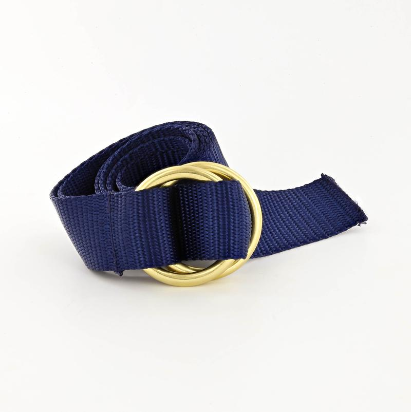 Her Webbing Belt with Brass O-rings in Navy