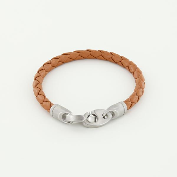 Catch Single Wrap Leather Bracelet with Matte Stainless Steel Brummels in Baked Brown