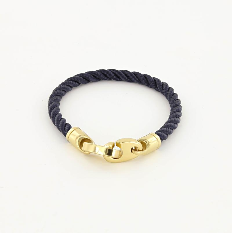 Endeavour Single Wrap Rope Bracelet with Polished Brass Brummels in navy