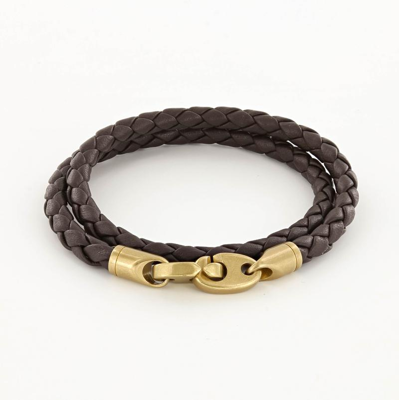 Journey Double Wrap Leather Bracelet with Matte Brass Brummels in Deep Dark Brown