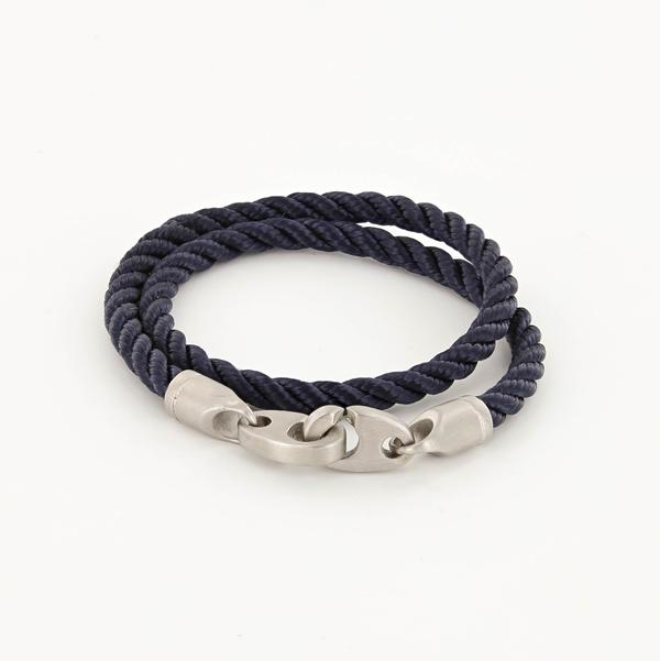 Catch Double Wrap Rope Bracelet with Matte Stainless Steel Brummels in Navy