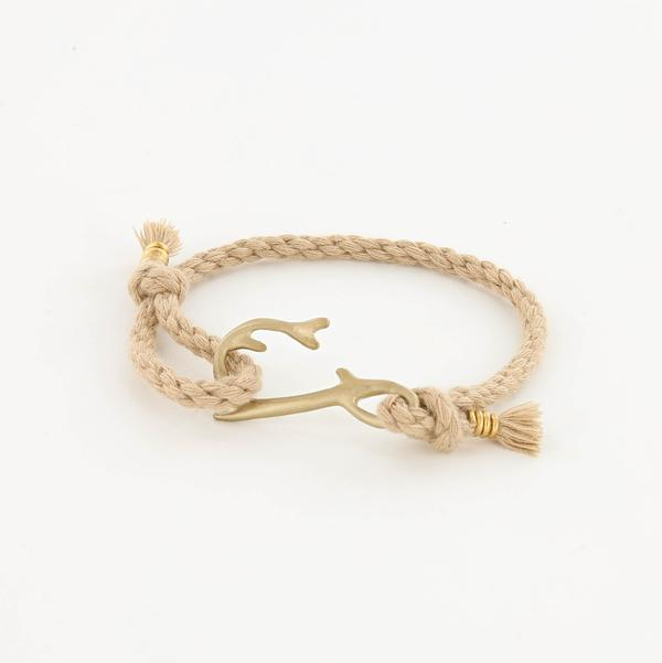 Coral Hook Rope Bracelet in Matte Brass