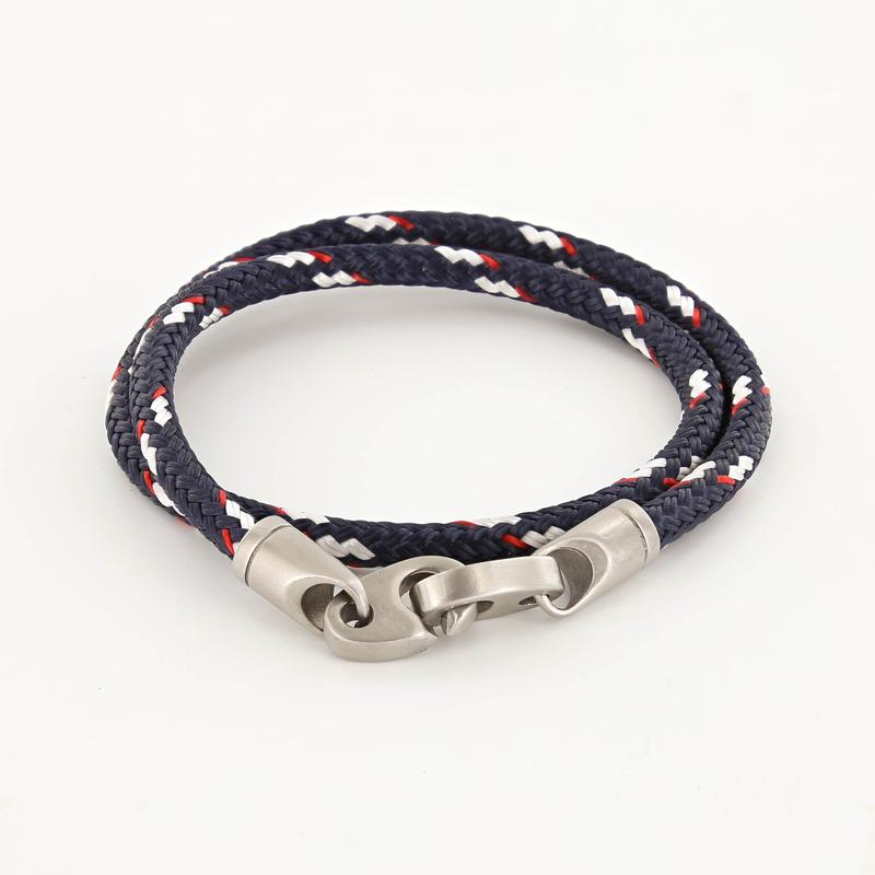 contender double wrap rope bracelet for men in stainless steel and  navy red and white