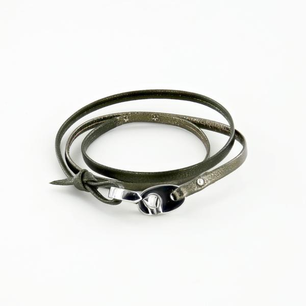 Tandem Leather Bracelet with Polished Stainless Steel Brummels in Camo Green