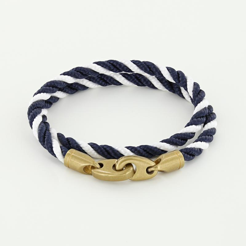 Journey Double Wrap Rope Bracelet with Matte Brass Brummels in Navy White