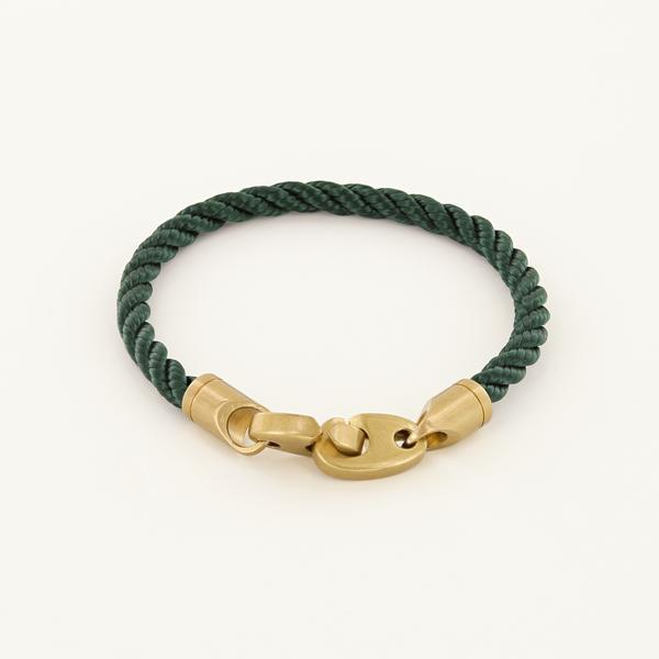 Journey Single Wrap Rope Bracelet with Matte Brass Brummels in Evergreen