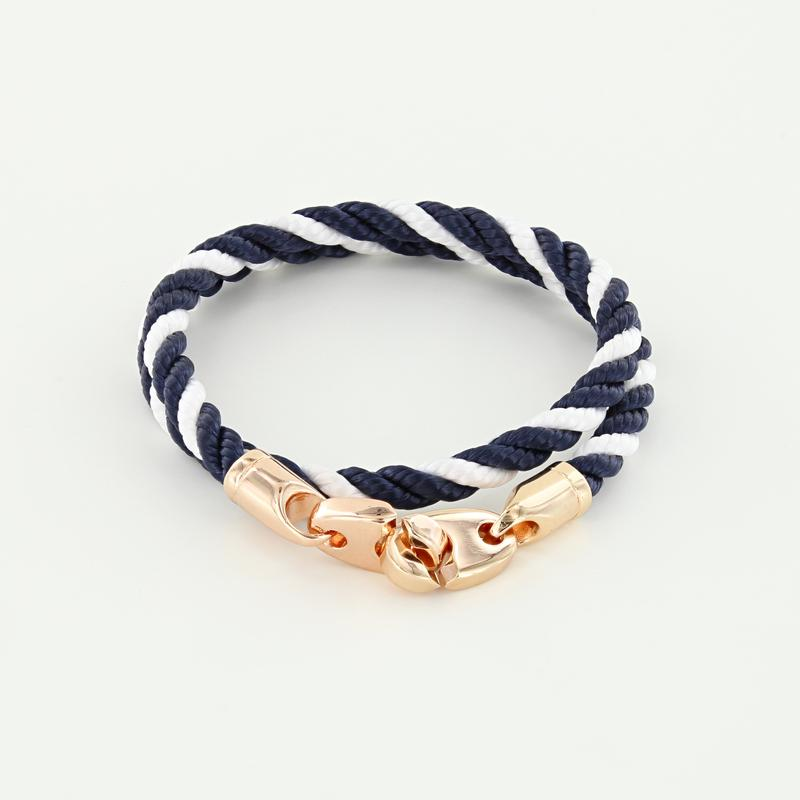 Lure Double Wrap Rope Bracelet with Rose Gold Brummels in navy white