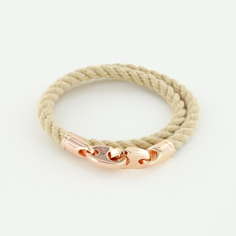 Lure Double Wrap Rope Bracelet with Rose Gold Brummels in wheat