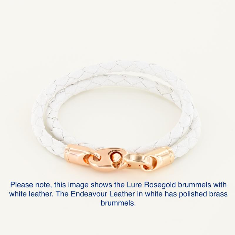 brummel bracelet with leather wrap in white