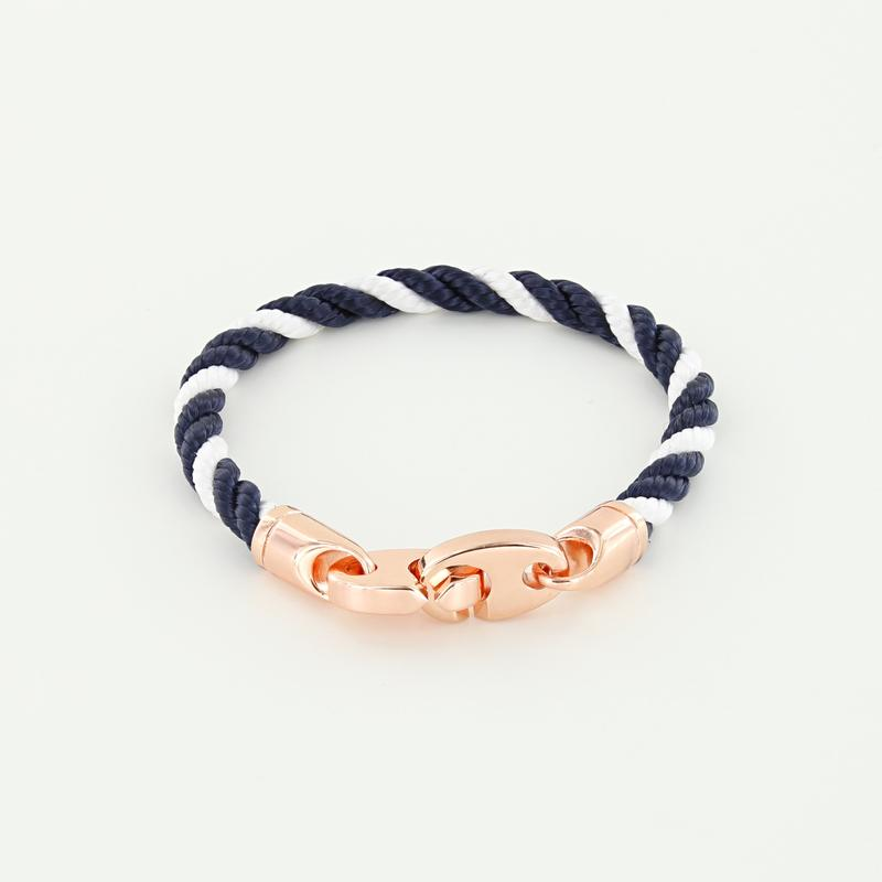 Lure Single Wrap Rope Bracelet with Rose Gold Brummels in navy white