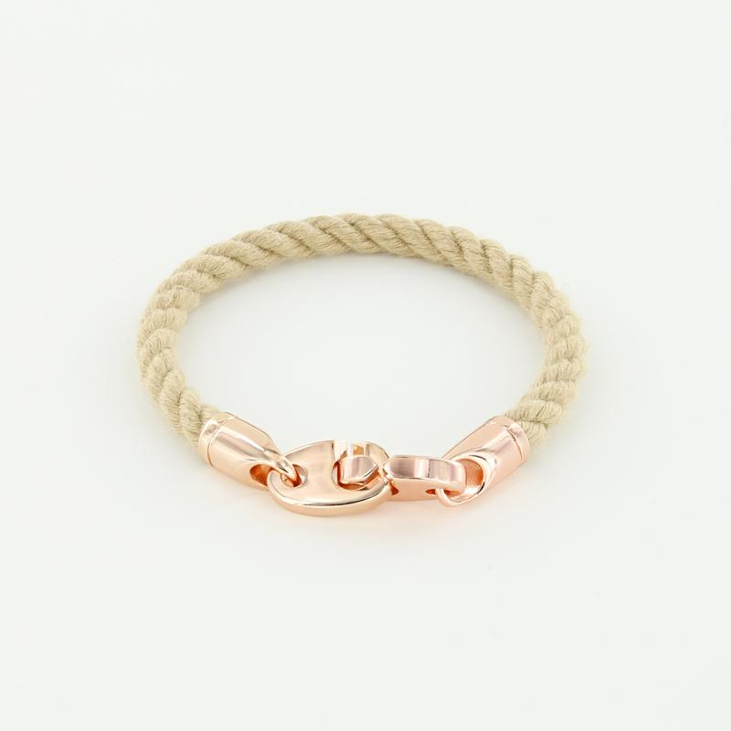 Lure Single Wrap Rope Bracelet with Rose Gold Brummels in natural wheat